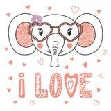 Cute elephant in heart shaped glasses stock illustration
