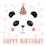 Cute panda in party hat. Hand drawn vector portrait of a cute funny panda in party hat, with text Happy Birthday. Isolated objects on white background. Vector Stock Photos