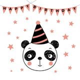 Cute panda in party hat. Hand drawn vector portrait of a cute funny panda in party hat, with text Happy Birthday. Isolated objects on white background. Vector Royalty Free Stock Image