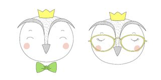 Cute owls girl and boy portraits Stock Photo