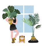 Hand drawn vector poster with tropical house plants, young woman and cute dog. Modern and elegant home decor. vector illustration