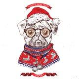 Hand drawn vector of pug with christmas Stock Image
