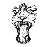 Hand drawn vector realistic ink graphic drawing of anger tiger face isolated on white background.Wild soul concept Stock Image