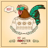 Hand-drawn vector retro hipster style rooster Stock Image