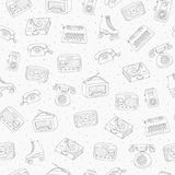 Hand drawn vector retro seamless pattern with antique tech, radi. O, typewriter, roller skates and vinyl record player contours on the dotted background. Usable Stock Photo