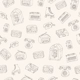 Hand drawn vector retro seamless pattern with antique tech, scooter, juke box, radio, typewriter, roller skates and vinyl record. Player outline on the beige stock illustration