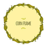 Hand drawn vector round corn frame. Hand drawn vector frame of corncobs and leaves Royalty Free Stock Images