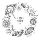 Hand drawn vector round wreath background, organic cosmetics, sp Royalty Free Stock Photo