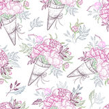 Hand drawn vector sealess pattern - fashion bouquets of peonies, leaves, and blossom. Floral design elements. Perfect for vector illustration