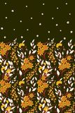 Hand drawn vector seamless border of wild flowers and herbs. Vertical seamless herbal graphic illustration or background. Orange on green stock illustration