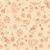 Hand drawn vector seamless Christmas elements Stock Photo