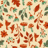 Hand Drawn Vector Seamless Forest Pattern with Abstract Plants, Mushrooms and Flowers. vector illustration