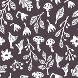 Seamless Forest Pattern with Plants, Mushrooms and Flowers on Dark Background. Hand Drawn Vector Seamless Forest Pattern with Abstract Plants, Mushrooms and stock illustration