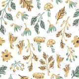 Seamless Pattern with Doodle Forest Plants on White Background. Hand Drawn Vector Seamless Forest Pattern with Abstract Plants, Mushrooms and Flowers vector illustration