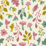 Hand Drawn Vector Seamless Forest Pattern with Abstract Plants, Mushrooms and Flowers. Seamless Pattern with Doodle Forest Plants on White Background. Hand vector illustration