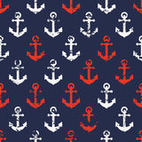 Hand drawn vector seamless navy pattern with red and white Royalty Free Stock Photography