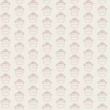 Hand drawn vector seamless pattern with asian fast food on beige background. Ornament with Wok contours Stock Image