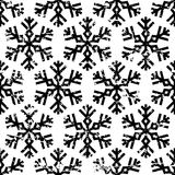 Hand drawn vector seamless pattern with black snowflakes isolate Stock Photo