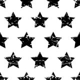 Hand drawn vector seamless pattern with black stars  on Stock Photo