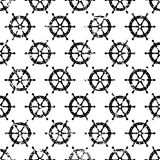 Hand drawn vector seamless pattern with black steering wheel iso Royalty Free Stock Images