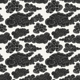 Hand drawn vector seamless pattern with black storm clouds. stock illustration