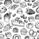 Hand drawn vector seamless pattern - collection of goodies, swee Royalty Free Stock Image