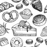 Hand drawn vector seamless pattern - collection of goodies, swee Stock Images