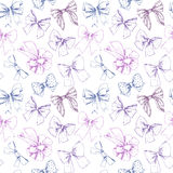 Hand drawn vector seamless pattern. Different types of bows. Per Royalty Free Stock Image