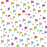 Hand drawn vector seamless pattern with flags. Royalty Free Stock Photo