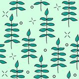 Hand drawn vector seamless pattern with floral elements. pattern - leaves, twigs Stock Images