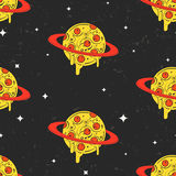 Hand drawn vector seamless pattern. Funny illustration of pizza-looking planets in space. Royalty Free Stock Image
