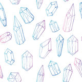 Hand drawn vector. Seamless pattern with geometric crystals. And minerals Stock Image