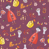 Hand drawn vector seamless pattern with halloween elements: suit Stock Photography