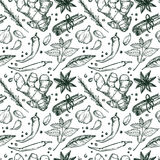 Hand drawn vector. Seamless pattern with herbs and spices. Royalty Free Stock Photo