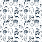 Hand drawn vector seamless pattern with illustration of group of men and women. Crowd of funny peoples background. Royalty Free Stock Photos
