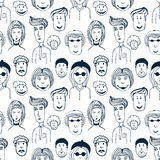 Hand drawn vector seamless pattern with illustration of group of men and women. Crowd of funny worker peoples background Royalty Free Stock Photos