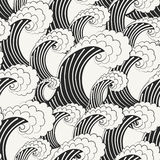 Hand drawn vector seamless pattern. Modern stylish monochrome background with structure of repeating big waves. Stock Photos