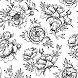 Hand drawn vector seamless pattern with peonies (flowers, leaves. ). Floral design elements. Perfect for invitations, greeting cards, blogs, textile, wallpaper Royalty Free Stock Photo