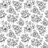 Hand drawn vector seamless pattern with peonies (flowers, leaves Royalty Free Stock Images