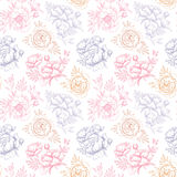 Hand drawn vector seamless pattern with peonies (flowers, leaves Royalty Free Stock Photography