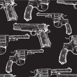 Hand drawn vector seamless pattern. Pistols. And revolvers Stock Photo