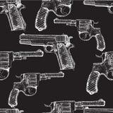 Hand drawn vector seamless pattern. Pistols Stock Photo