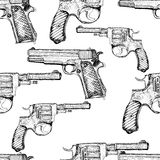 Hand drawn vector seamless pattern. Pistols. And revolvers Stock Photos