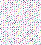 Hand drawn vector seamless pattern in retro memphis style. 80s disco style ornament in bright colors for fabric, wrapping paper, royalty free stock photos