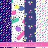 Hand drawn vector seamless pattern in retro memphis style. 80s disco style ornament in bright colors for fabric, wrapping paper, royalty free stock photography