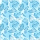 Hand drawn vector seamless pattern - rose petals. Blue backgroun. D vector illustration