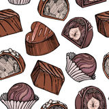Hand drawn vector seamless pattern - set of chocolate candies wi. Th milk chocolate and nuts. Design elements in sketch style for valentine`s day. Perfect for Royalty Free Stock Photography