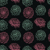 Hand drawn vector seamless pattern with succulents. Background. Stock Photography