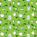 Hand drawn vector seamless pattern - tea, cups and. Kettles, green tea leaves Royalty Free Stock Photo