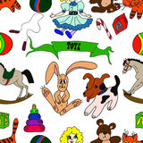 Hand drawn vector seamless pattern. Toys for children. Stock Images